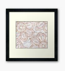 Mandala whimsy - rose gold & marble Framed Print