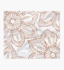 Mandala whimsy - rose gold & marble Photographic Print