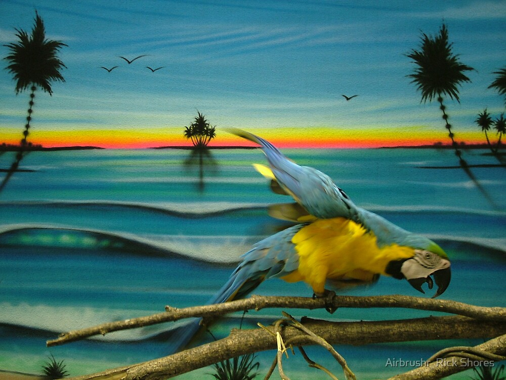 airbrush photo backdrop with pet bird by Airbrushr  Rick Shores