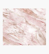 Pink marble - rose gold accents Photographic Print