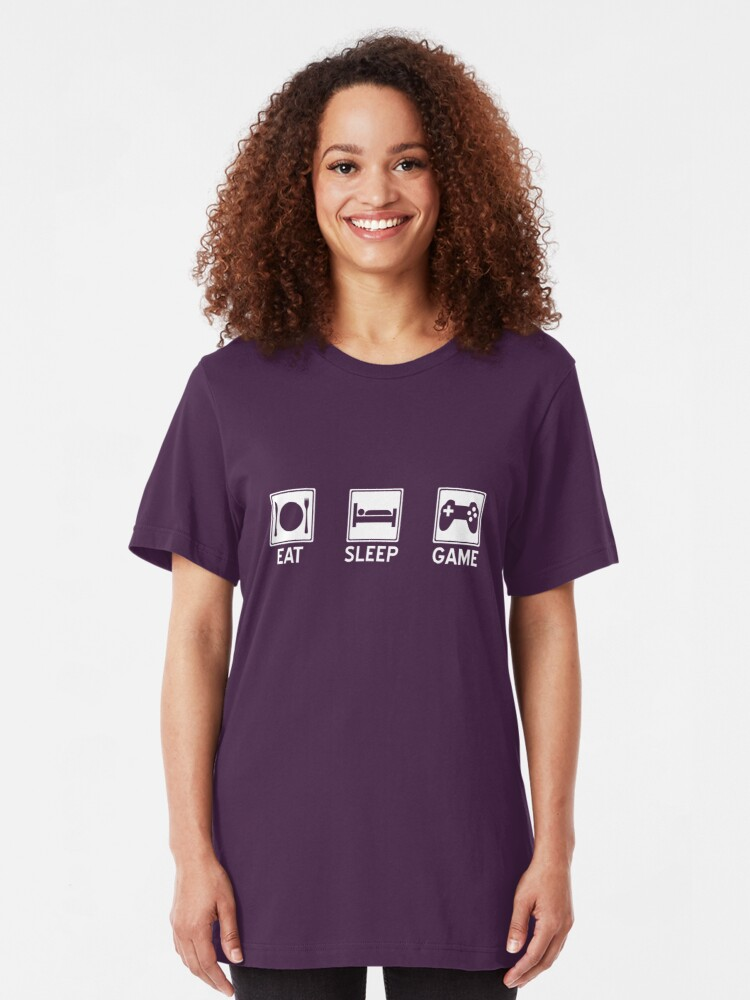 Alternate view of Eat, Sleep, Game Slim Fit T-Shirt