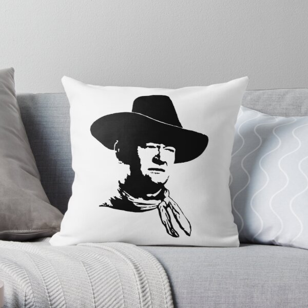 John Wayne Stencil Throw Pillow By Rimko Redbubble