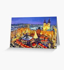 Prague Old Town Square Christmas market 2014 Greeting Card