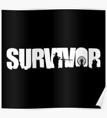 Survivor - White Ink Poster