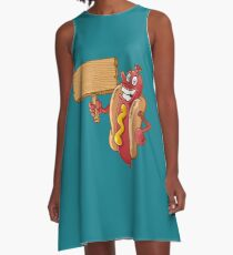 hot dog with wooden blank A-Line Dress