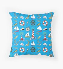 Sailing on Blue Throw Pillow