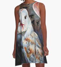 Owl of the Blood Moon Heart A-Line Dress