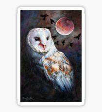 Owl of the Blood Moon Heart Sticker