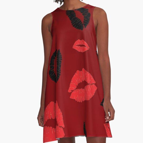Red, Red, Black Kisses Lips TeAnne A-Line Dress
