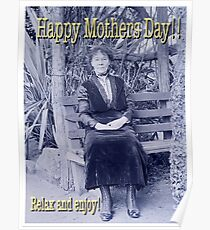 Mothers Day Edwardian Lady on Bench Poster