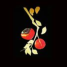 Persimmon with gold branch by hauntedteashop