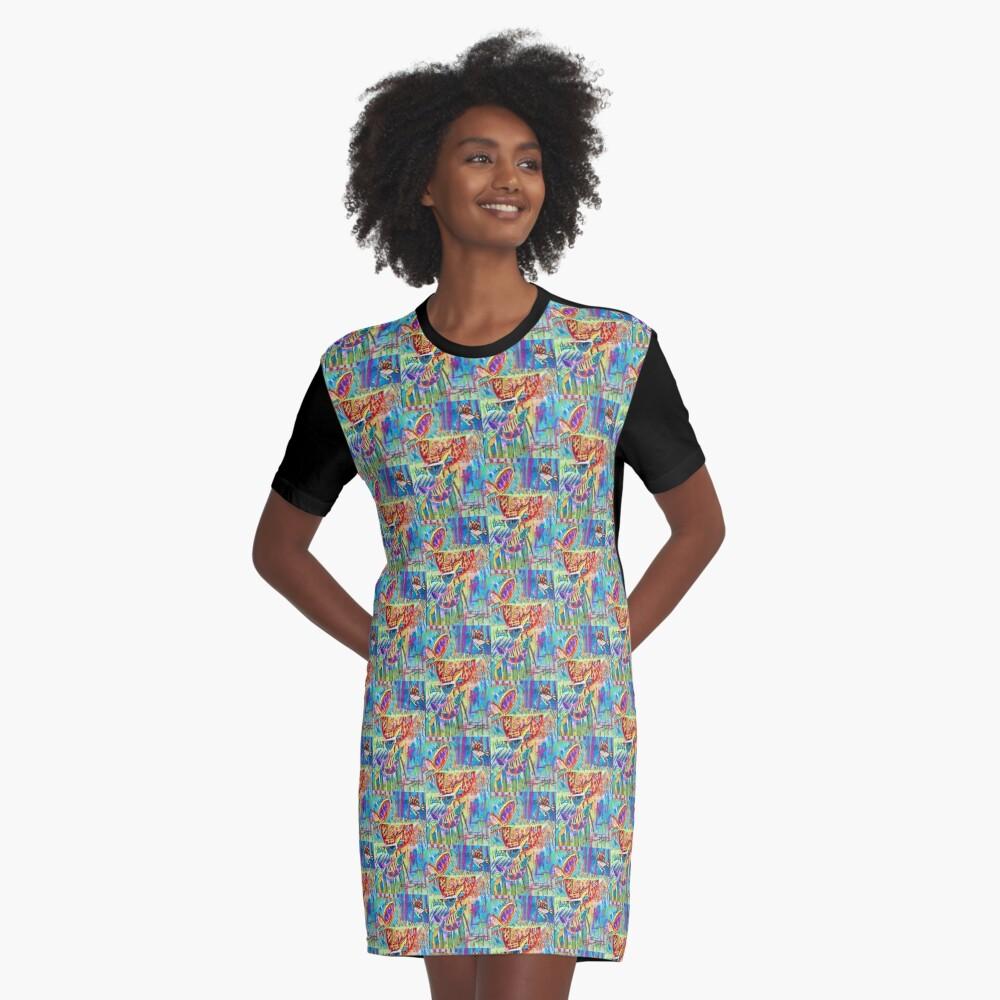 Beach Birds Graphic T-Shirt Dress Front