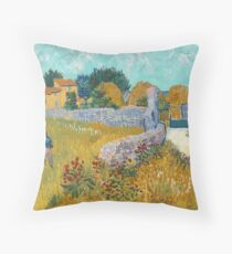Classic Art -  Farmhouse in Provence - Vincent van Gogh Throw Pillow