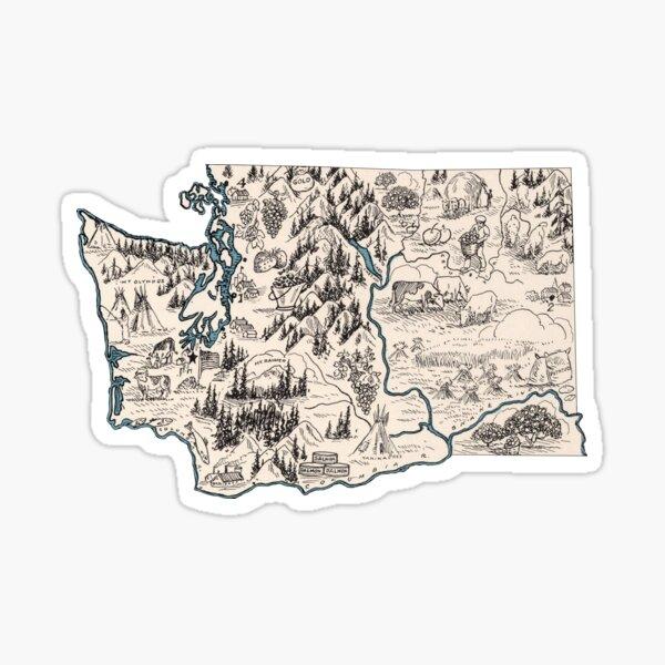 Washington Vintage Picture Map Sticker