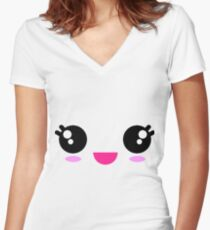 Kawaii Big Smile Women's Fitted V-Neck T-Shirt