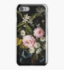 Jean-Baptiste Monnoyer - A Bouquet Of Chamomile, French Roses, Single Yellow Roses, Orange Blossom And Carnations Tied With A Blue Ribbon iPhone Case/Skin