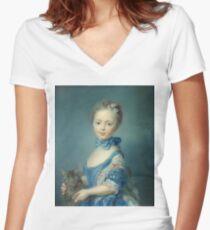 Jean-Baptiste Perronneau - A Girl With A Kitten Women's Fitted V-Neck T-Shirt
