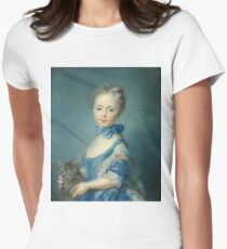 Jean-Baptiste Perronneau - A Girl With A Kitten Women's Fitted T-Shirt
