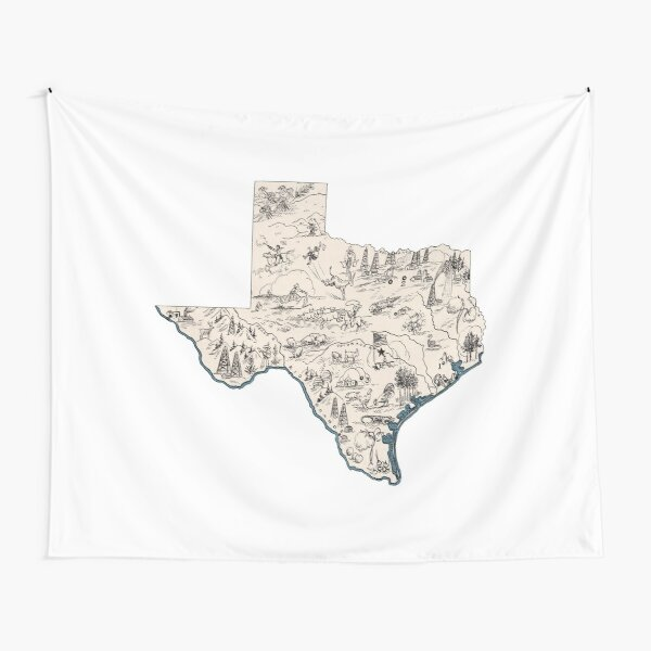 Texas Vintage Picture Map Tapestry
