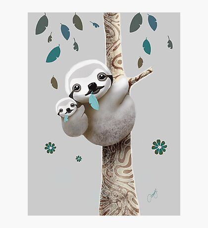 Baby Sloth Twilight Photographic Print