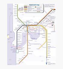 Perth Train Map Photographic Print