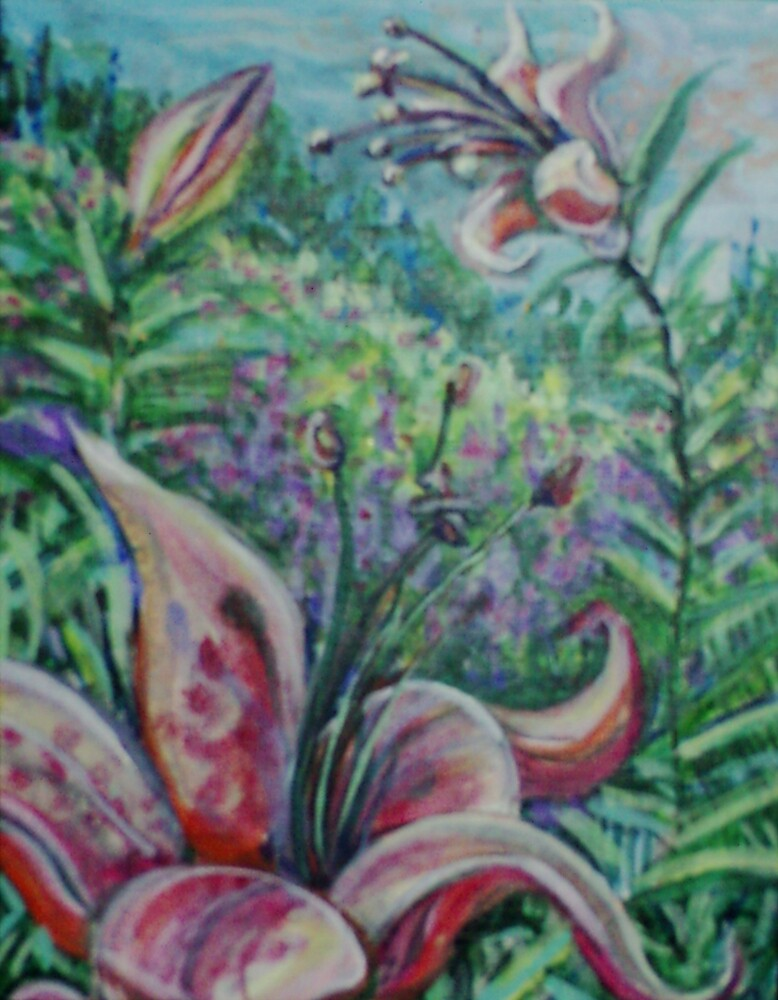 Tiger Lilies (Acrylics)- by Robert Dye