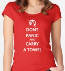 Don't Panic and Carry a Towel Women's Fitted Scoop T-Shirt
