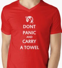 Don't Panic and Carry a Towel Mens V-Neck T-Shirt