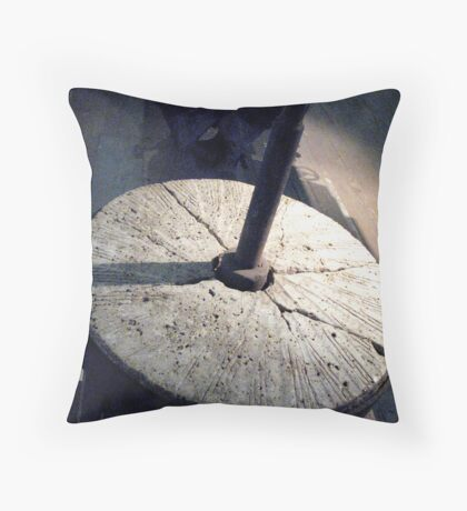 Old Broken Grist Stone Throw Pillow