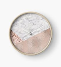 Expensive pink - rose gold marble Clock