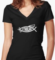 Cthulhu Fish Women's Fitted V-Neck T-Shirt