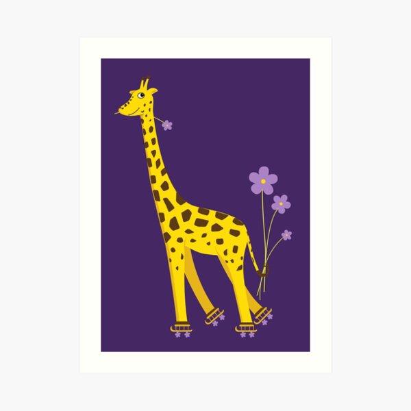 Purple Cartoon Funny Giraffe Roller Skating Art Print