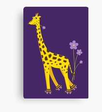 Purple Cartoon Funny Giraffe Roller Skating Canvas Print