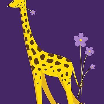 Purple Cartoon Funny Giraffe Roller Skating by azzza