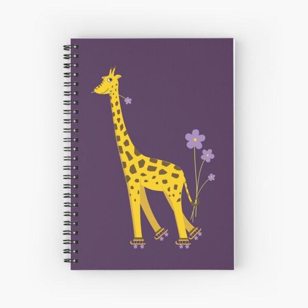 Purple Cartoon Funny Giraffe Roller Skating Spiral Notebook