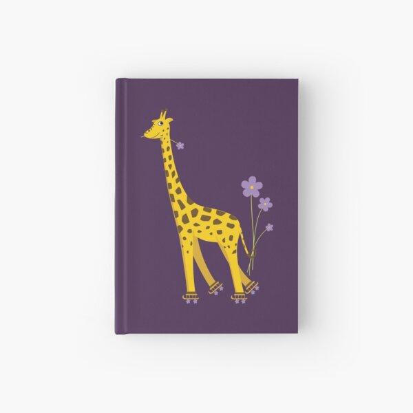 Purple Cartoon Funny Giraffe Roller Skating Hardcover Journal