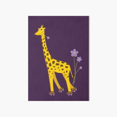 Purple Cartoon Funny Giraffe Roller Skating Art Board Print