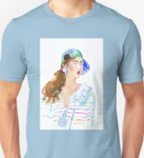 fashion #53: girl in a striped blouse and cap Unisex T-Shirt