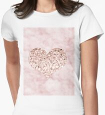 Rose gold - heart Womens Fitted T-Shirt