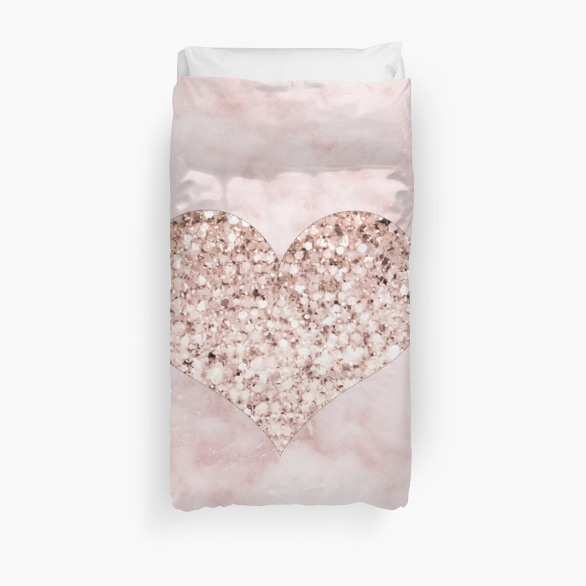 Quot Rose Gold Heart Quot Duvet Cover By Marbleco Redbubble
