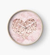 Rose gold - heart Clock