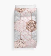 Rose gold dreaming - marble hexagons Duvet Cover