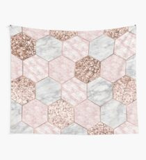 Rose gold dreaming - marble hexagons Wall Tapestry
