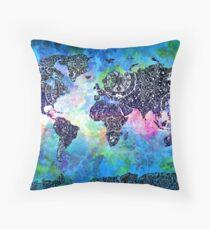 world map mandala 5 Throw Pillow