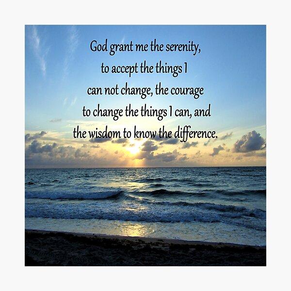 BE BLESSED SERENITY PRAYER SUNRISE PHOTO Photographic Print
