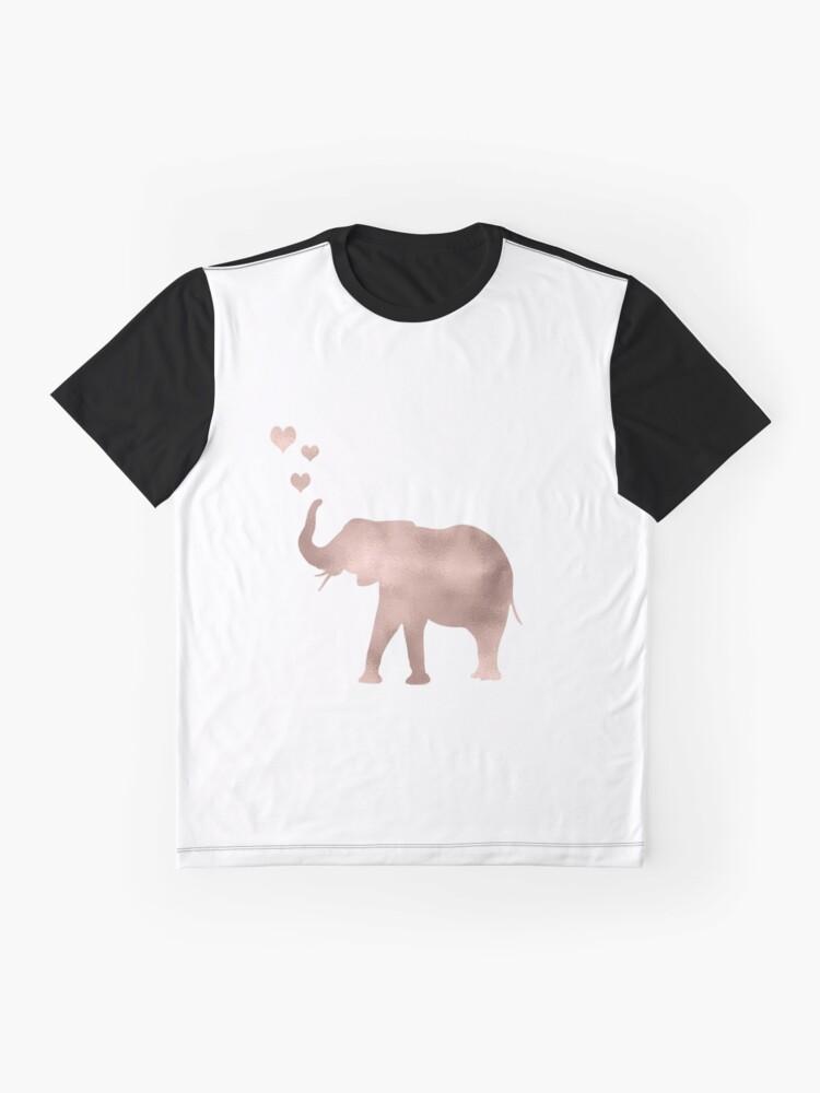 Vista alternativa de Camiseta gráfica Elefante amor - hoja de oro rosa