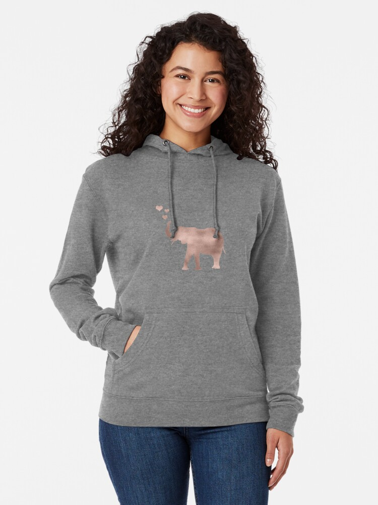 Vista alternativa de Sudadera con capucha ligera Elefante amor - hoja de oro rosa