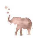 Elephant love - rose gold foil by peggieprints