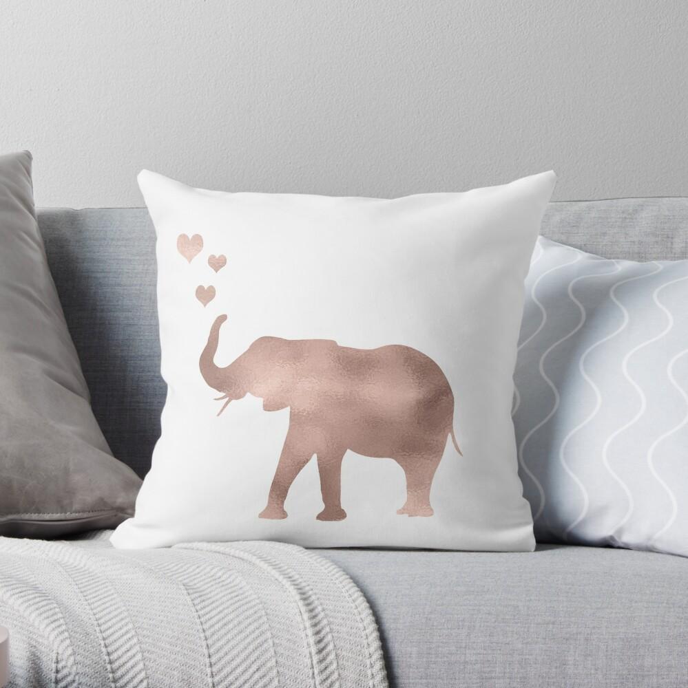 Elefantenliebe - Roségoldfolie Dekokissen