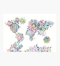 world map mandala white Photographic Print